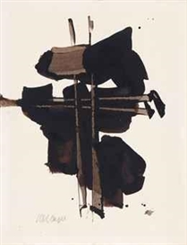 Artwork by Pierre Soulages, Brou de noix sur papier, Made of gouache on paper
