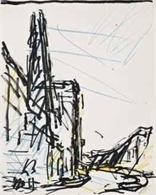 Artwork by Frank Auerbach, Study for Chimney in Mornington Crescent, Made of ink and crayon on paper