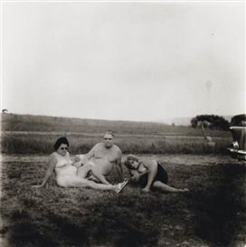Artwork by Diane Arbus, Neil Selkirk, A Family One Evening in a Nudist Camp, 1965, Made of Silver print
