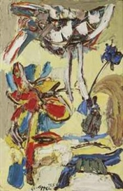 Artwork by Karel Appel, Springtime, Made of oil on burlap