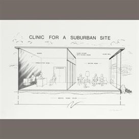 Artwork by Dan Graham, Clinic for a Suburban Site, Made of Offset lithograph on glossy wove paper