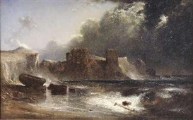 Artwork by David Octavius Hill, TURNBERRY CASTLE BY MOONLIGHT, Made of oil on canvas