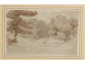 Artwork by Thomas Rowlandson, A study of trees in a hilly landscape, Made of sepia pen and ink with wash en grisaille over pencil traces
