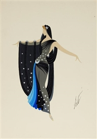 Artwork by Erté, Starry night costume, Made of Gouache and silver highlights on paper
