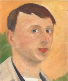 Artwork by Karl Oscar Isakson, Self portrait, Made of Oil on paper laid down on panel
