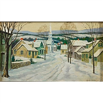 A winter village scene By George A. Bradshaw