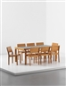 Alvar Aalto, 9 works: Dining table and set of eight stacking chairs, model no. 11/3