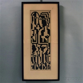 Artwork by Ewald Dülberg, Abstract Figures, Made of Relief print