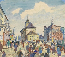Artwork by Oskar Laske, St. Florian, Wiedner Hauptstraße