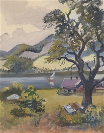 Artwork by Oskar Laske, Summer in Salzkammergut, Made of watercolour, gouache on paper, laid down on cardboard
