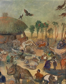 Artwork by Oskar Laske, Tiermarkt in Timbuktu, Made of oil on canvas