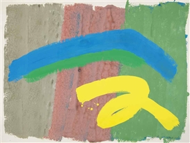 Artwork by Jack Bush, Triple with Blue, Green, Yellow, Made of gouache on paper