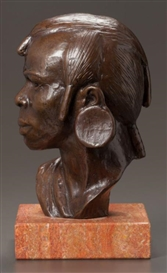 Artwork by Richmond Barthé, Maasai Warrior, Made of Bronze with brown patina