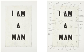 Artwork by Glenn Ligon, 2 works: Condition Report (diptych), Made of iris prints with screenprint ink