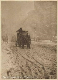 Artwork by Alfred Stieglitz, Winter - Fifth Avenue, Made of photogravure on Japan tissue