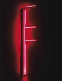 Artwork by Dan Flavin, Untitled (for John Heartfield) 3a, Made of red fluorescent light