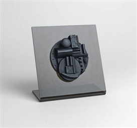 Artwork by Louise Nevelson, Collegiate School Wood Multiple, Made of Wood multiple painted in black, mounted on a Plexiglas stand