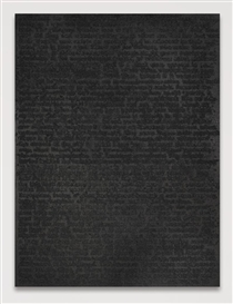 Artwork by Glenn Ligon, STRANGER #64, Made of oil, coal dust and gesso on canvas