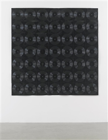 Artwork by Christian Marclay, SOUND SHEET, Made of black flexidiscs and black thread