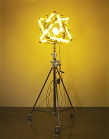 Artwork by Olafur Eliasson, YELLOW MOONLIGHT, Made of mono frequency lamp, electric bulb, metal and tripod