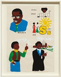 Artwork by Glenn Ligon, Malcolm X, Sun, Frederick Douglass, Boy with Bubbles #2, Made of Flashé paint and silkscreen ink on paper