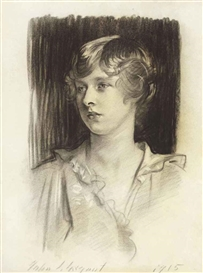 Artwork by John Singer Sargent, Portrait of Evelyn Bligh St. George, Made of charcoal on paper
