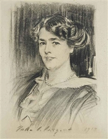 Artwork by John Singer Sargent, Portrait of Lady Lilian Elizabeth Michaelis, Made of charcoal on paper