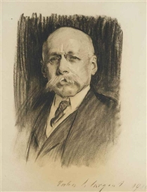 Artwork by John Singer Sargent, Portrait of Sir Maximilian Michaelis, Made of charcoal on paper