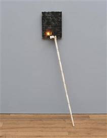 Artwork by Pier Paolo Calzolari, SENZA TITOLO, Made of burned salt, wood, oil lamp, nut and metal