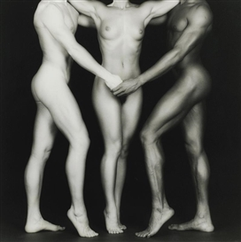 Artwork by Robert Mapplethorpe, Ken, Lydia & Tyler, Made of Silver print flush-mounted to card