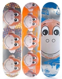 A Suite of Three Monkey Train Skate Decks