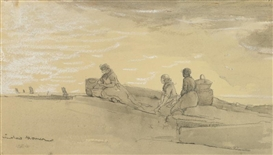 Artwork by Winslow Homer, Waiting, Made of Graphite and watercolor on paper