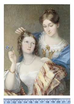 The daughters of Alexander Barclay: the first, seated and wearing white dress with lace trim, pearl necklace, gold bangle on her right arm, a voluminous stole of burgundy and pale yellow stripes edged with pearls and draped about her shoulders, her centrally parted hair upswept and curled in ringlets framing her face By Cornelius Beavis Durham