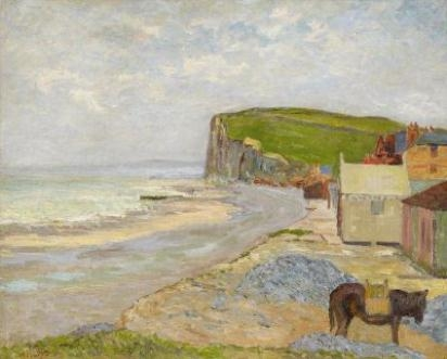 Artwork by Maxime Maufra, On the Étretat Beach in Normandy, Made of Oil on canvas