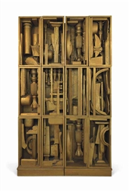 Artwork by Louise Nevelson, Night Music B, Made of gold painted wood