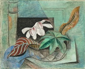 Artwork by Friedrich Ahlers-Hestermann, BLÄTTER UND MAGNOLIEN, Made of Oil on canvas