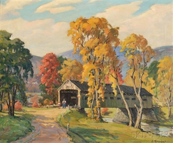 Covered Bridge By Jacob I. Greenleaf