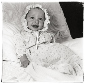Artwork by Diane Arbus, Baby in a Lacey Bonnet, 1968, Made of Gelatin silver print