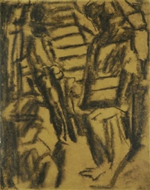 Artwork by David Bomberg, Figure Study (Interior), Made of charcoal