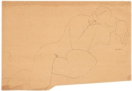 Artwork by Louise Nevelson, Untitled (Nude Study), Made of India ink on paper