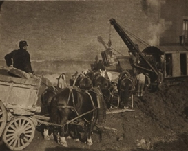 Artwork by Alfred Stieglitz, Excavating, New York 1911, Made of Photogravure on Japanese paper
