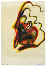 Artwork by Arnulf Rainer, Baudelaire, Made of Coloured ink on heavy Leykam paper