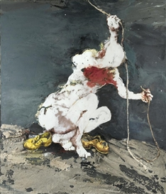 Artwork by Paul Rebeyrolle, Dénuement Complet (Personnage Accroupi III), Made of Oil on canvas