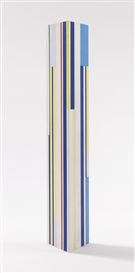 Artwork by Ilya Bolotowsky, Three Blue Trylon, Made of acrylic on wood