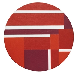 Artwork by Ilya Bolotowsky, Tondo In Three Reds, Made of acrylic on wood