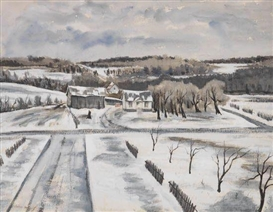 Artwork by John Whorf, Winter Landscape, Made of Watercolor and gouache on heavy cream wove paper