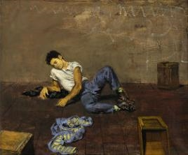 Man On Floor, Leaning On Elbow By Walter Stuempfig ,1952