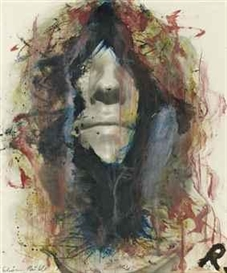 Artwork by Arnulf Rainer, Schöne Hülle, Made of Oil And Grease Pencil On Black And White Photograph