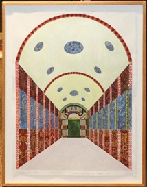Artwork by Joyce Kozloff, Scrovengni Chapel, Padova, as Art Deco Subway Tunnel, 1984, Made of Watercolor
