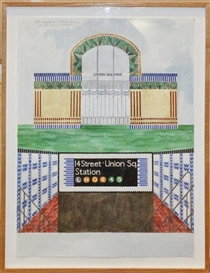 Artwork by Joyce Kozloff, Otto Wagner in Union Square after the Vienna Stadtbahn, 1984, Made of Watercolor